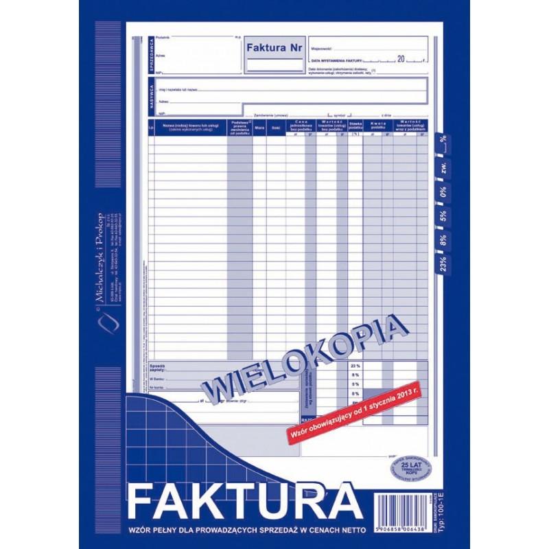 DRUK FAKTURA A4 WIELOKOPIA