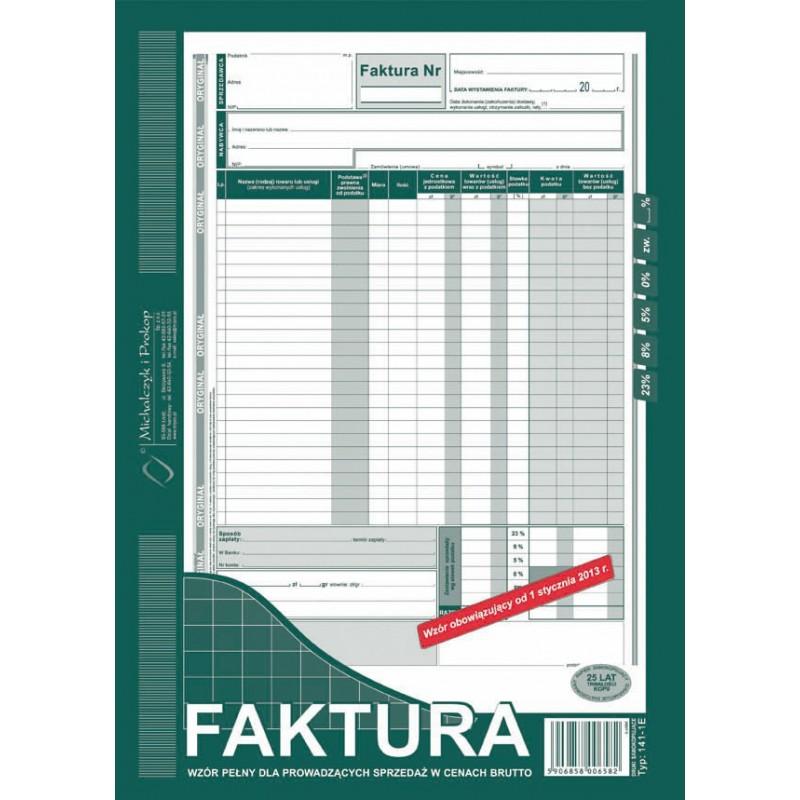 DRUK FAKTURA A4 BRUTTO PELNA