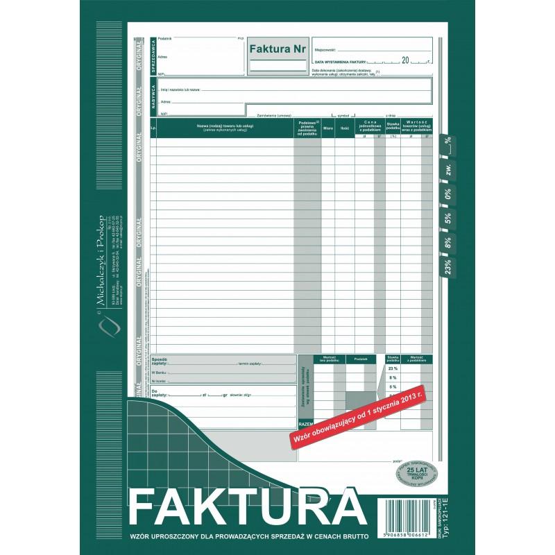 DRUK FAKTURA VAT BRUTTO A4...