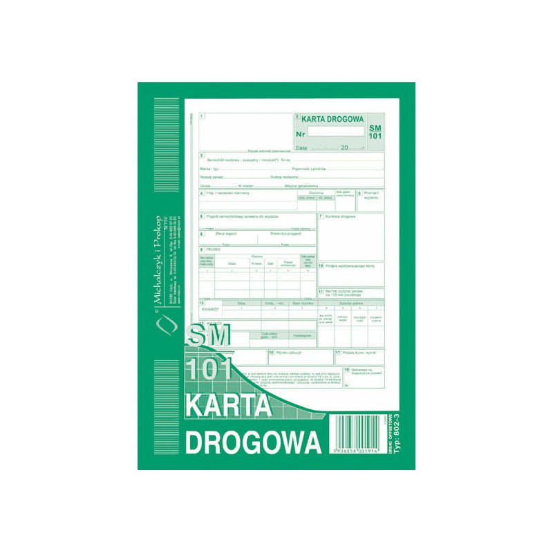 DRUK KARTA DROGOWA A5