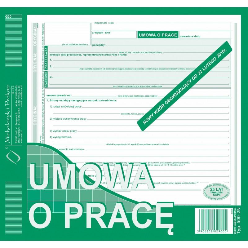 DRUK UMOWA O PRACĘ 2/3 A4