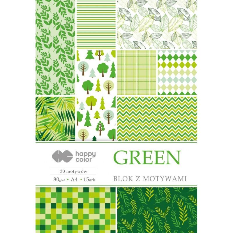 BLOK Z MOTYWAMI GREEN A4...